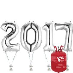 "2017 Silver Foil Number Balloon Kit With Helium - 34"" Foil"