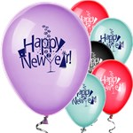"Happy New Year Balloons Assorted Colours - 12"" Latex"