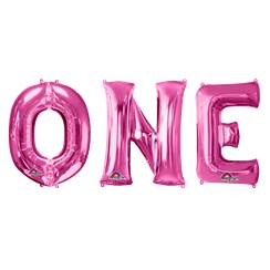 "'ONE' Pink Balloon Kit - 34"" Foil"