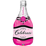 Pink Champagne Bottle Supershape Balloon - 39'' Foil