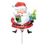 "Santa & Tree Christmas Airfill Balloon - 9"" Foil"