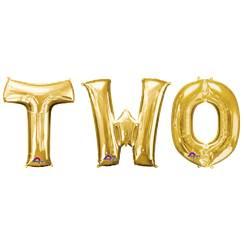 'TWO' Gold Foil Balloon Kit - 34""