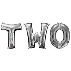 'TWO' Silver Foil Balloon Kit - 34""