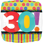 "30th Birthday Dots & Stripes Balloon - 18"" Foil"
