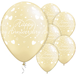 "Happy Anniversary Hearts Balloons - 11"" Latex"