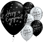 Happy Engagement Black & Silver Balloons - 11