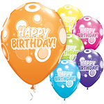 "Happy Birthday Dots & Glitz Balloons - 11"" Latex"