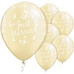 Just Married Butterflies Pearl Ivory Balloons - 11