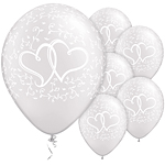 "White Entwined Hearts Wedding Balloons - 11"" Latex"