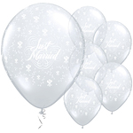 Just Married Diamond Clear Flowers Balloons - 11
