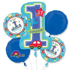 All Aboard 1st Birthday Balloon Bouquet - Assorted Foil