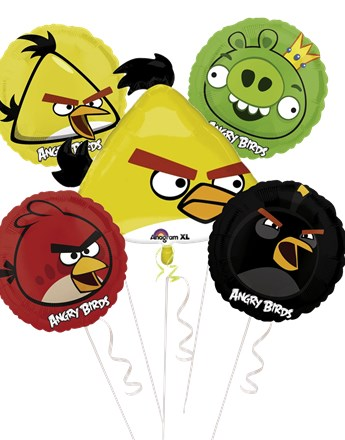 Angry Birds Balloon Bouquet - Assorted Foil