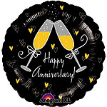 "Champagne Glasses Happy Anniversary Balloon - 18"" Foil"
