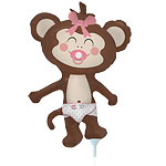 Baby Girl Monkey Balloon on a Stick - 14