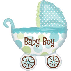 "Baby Buggy Boy Supershape Balloon - 31"" Foil"