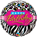 "Happy Birthday Leopard & Zebra Pattern Balloon - 18"" Foil"