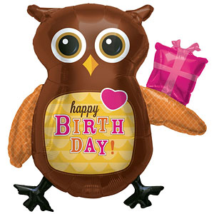 "Birthday Owl Supershape Balloon - 36"" Foil"