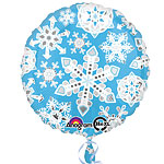 "Blue & White Frosty Snowflakes Balloon - 18"" Foil"