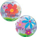 Birthday Funky Flowers Bubble Balloon - 22""