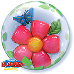 Flower & Leaves Double Bubble Balloon - 24""