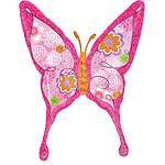 "Pink Floral Swallowtail Butterfly Balloon - 37"" Foil"