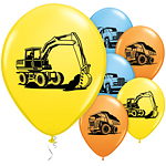 "Construction Trucks Balloons - 11"" Latex"