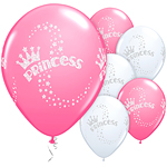 "Glitter Princess Balloons - 11"" Latex"