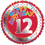 "Colourful Round 12th Birthday Balloon - 18"" Foil"