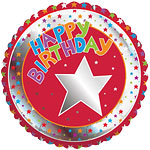 "Happy Birthday Stars Design Balloon - 18"" Foil"