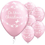 "On Your Christening Pink Butterflies Balloons - 11"" Latex"