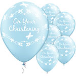 "On Your Christening Blue Butterflies Balloons - 11"" Latex"