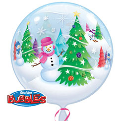 Festive Trees & Snowmen Bubble Balloon - 22""