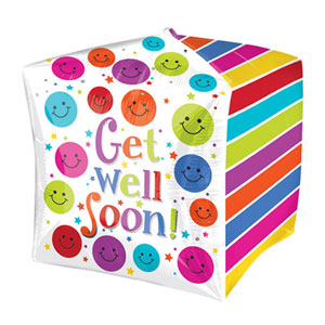 "Cubez Get Well Soon Cube Shaped Balloon - 24"" Foil"