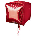 "Cubez Red Cube Shaped Balloon - 15"" Foil - unpackaged"