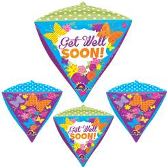 "Diamondz Get Well Butterfly Balloon - 24"" Foil"