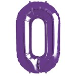 Purple Number 0  Balloon - 34'' Foil