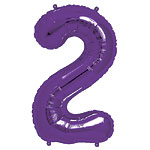Purple Number 2  Balloon - 34'' Foil
