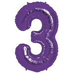 Purple Number 3  Balloon - 34'' Foil