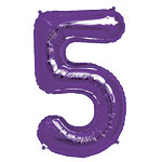 Purple Number 5  Balloon - 34'' Foil