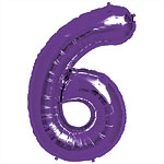 Purple Number 6  Balloon - 34'' Foil