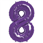 Purple Number 8  Balloon - 34'' Foil