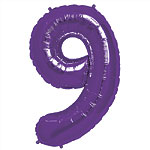 Purple Number 9  Balloon - 34'' Foil