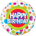 Happy Birthday Colourful Dots Round Balloon - 18