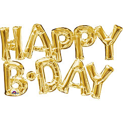 Happy Birthday Gold Foil Phrase Balloon