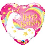 "Happy Birthday Unicorn Heart Foil Balloon - 18"" Balloon"