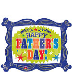 "Happy Fathers Day Frame Supershape Balloon - 30"" Foil"