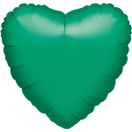 "Metallic Green Heart Balloon - 18"" Foil - unpackaged"