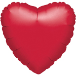 Metallic Red Heart Valentines Balloon - 18