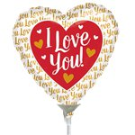 I Love You Red and Gold Balloon on a Stick