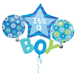 "It's A Boy Multi Balloon - 39"" Foil"